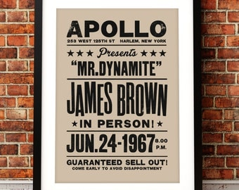 James Brown concert poster, James Brown poster print, music inspired print, concert print, Apollo theater, James Brown, James Brown poster
