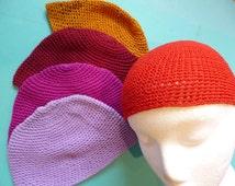 Vintage Skull Cap Cotton Boho Summer Crocheted Hat Made in Guatemala