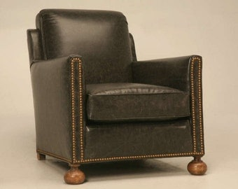 "Authentic 1930s Vintage French ""Bomber"" Leather Club Chair"
