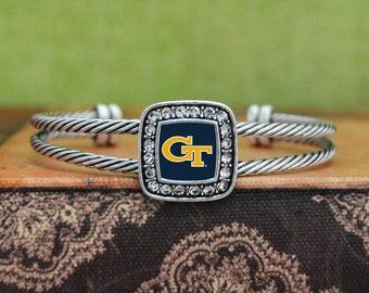 Georgia Tech Yellow Jackets Square Cuff Bracelet