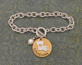 Louisiana Love Toggle Bracelet with Pearl Accent - 22499