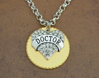 Doctor Heart Gold Disk Necklace