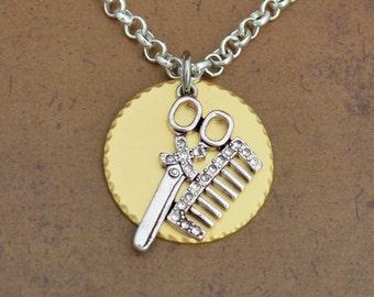 Hairdresser Gold Disk Necklace
