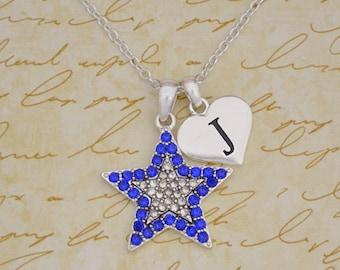 Custom Initial Blue Star Necklace