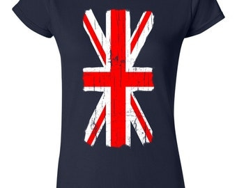 Distressed  Union Jack Great Britain Flag Womans T-Shirt