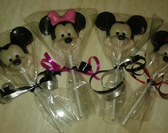 20 Mickey Mouse and Minnie Mouse Chocolate Lollipop Favor