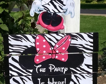 Minnie Mouse Zebra Birthday Yard Sign