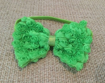 Spring Green Chiffon Rosette Hair Bow Clip attached to Spring Green Elastic Headband Stretchy Headband