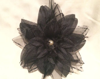 Black Organza Feather Flower with Gem Center on Partially Lined Alligator Hair Clip