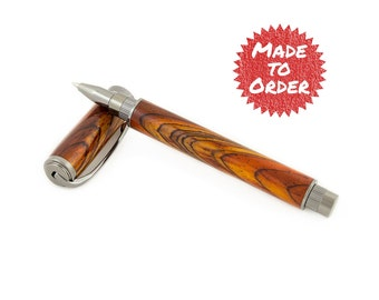 Made to Order - Cocobolo Magnetic Graduate Rollerball or Fountain Pen with Gunmetal, Engraved Wooden Pen, Handmade Wood Pen