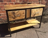 Reclaimed Industrial Chic Rustic Sideboard Dresser Cupboard Wood  Metal Bar cafe Resturant Tables Steel and Wood Hand Made tableoffice 217