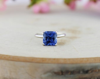 8x8mm Cushion Synthetic Sapphire  Solitaire Ring 14K White Gold 2.5 CT