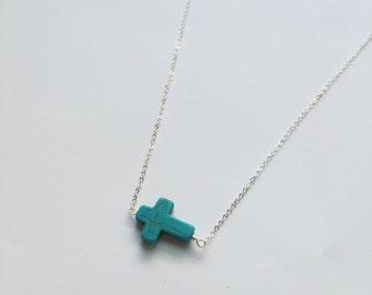 Blue Cross Necklace in silver