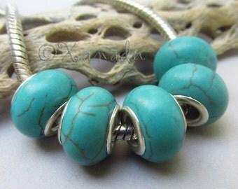 Turquoise Gemstone European Beads - 2/5/10 Wholesale Large Hole Beads For European Charm Bracelets EB0078