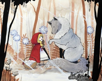 Fairytale Watercolor Illustration. Little Red Riding Hood and Wolf.