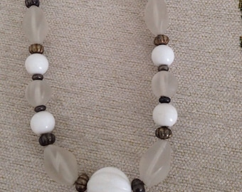 Vintage Beaded Necklace ~ Various Size Beads ~ Color White and Cloudy Colored