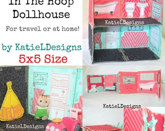 ITH 5x5 Dollhouse Set Machine Embroidery Design Pattern Download In The Hoop Dollhouse Travel Toy