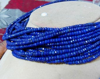 1 Strand   Lapis lazuly Faceted  polished Round  beads 14''  11, grams  3 to 6. MM