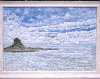 Large Original painting framed oil  Windswept Island seascape, nautical, coastal,  very large  Andi J Lucas