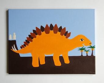 "Kids Dinosaur Art, Stegosaurus painting, Dinosaur Nursery decor, Dinosaur Boys Room, Dinosaur Wall art for kids, 16"" x 12"" original canvas"