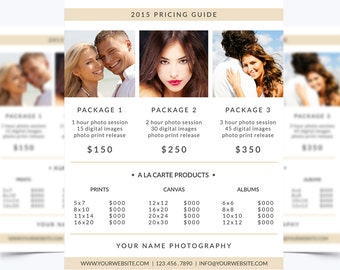 Photography Pricing Guide Template 001 for Photoshop 8.5 x 11 - Photographer Template - Photography Template