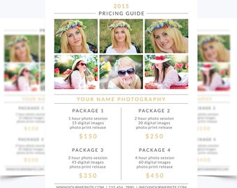 Photography Pricing Guide Template 002 for Photoshop 8.5 x 11 - Photographer Template - Photography Template