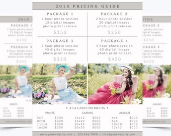 Photography Pricing Guide Template 007 for Photoshop 8.5 x 11 - Photographer Template - Photography Template