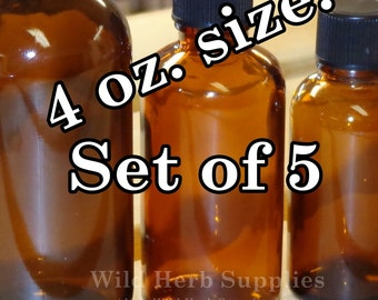 5 AMBER BOTTLES, GLASS - 4 oz size + Cone Lined Caps (Larger quantities available)