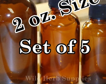 5 AMBER BOTTLES, 2 oz. Size (60 ml), GLASS with Cone Lined Caps (Larger quantities available)