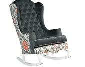 ISADORA Rocker ..... handmade tufted Rocking chair in Gray Velvet with Pink and Orange Suzani Print