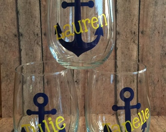 Anchor Wine Glasses - Personalized with your Name!