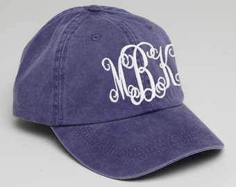 Purple  Monogrammed Baseball Cap for Ladies-Pigment Dyed Hat, Interlocking Script Monogram-Custom Embroidery, Personalized Baseball Hat
