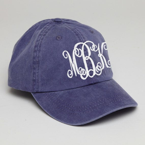 purple monogrammed baseball cap for pigment dyed hat