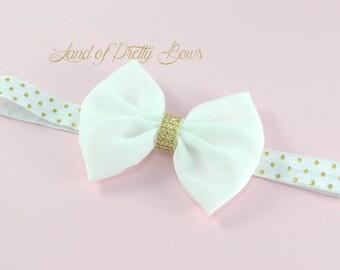 White Baby Headband White Hair Bow White Bow Headband Gold and White Baby Headband Chiffon Hair Bow Gold Dots Headband  Fabric Hair Bow