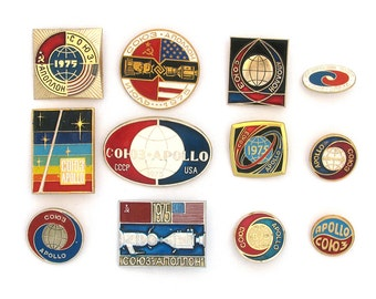 Apollo - Soyuz, Set of 12 Badges, Space, Cosmos, Rare Vintage collectible badges, Soviet Vintage Pin, Soviet Union, Made in USSR, 1970s