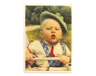 Soviet child, Unused Postcard, Photo, Boy, Soviet Vintage Postcard, Unsigned, USSR, 1962, 1960s, 60s