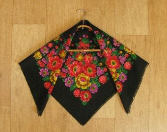 "Vintage wool shawl, 28"" x 28"", Floral head scarf, Ukrainian folk art, Floral pattern, Black with Flowers,  USSR, Soviet Union, 1980s"