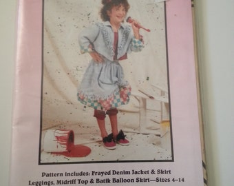 90s jacket/ girls leggings/midriff top/balloon skirt /1992 sewing pattern, Size 4 6 8 10 12 14, Chest 23 24 25 27 28 33 32, Pear Blossom 302