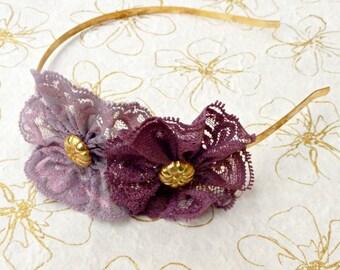 Adult headband woman, purple headband, lace flower headband, bridesmaid headband, floral headband, women hair accessory