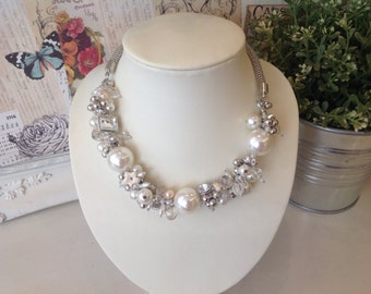 Cream pearl statement necklace