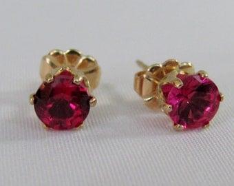 Ruby Stud Earrings, 14K Gold Filled, July Birthstone Gift, Red Ruby Earrings, Ruby Jewelry, Lab Grown, Post Earrings, 5mm Ruby Gemstone