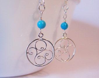 Turquoise Filigree Earrings in Sterling Silver, December Birthstone Earrings, Turquoise Drop Earrings, Turquoise Jewelry, Delicate Earrings