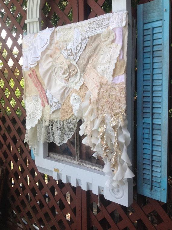 Shabby boho nursery : Shabby chic lace shower curtains