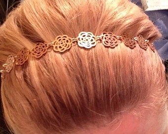 New Hairwear Hair Jewelry Gold Rose Headband NEW