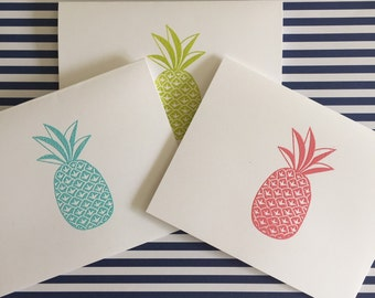 Bright Pineapple Notecards- You Choose The Color!- 6 Cards with Envelopes