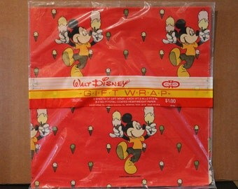 Wonderfully Vintage Walt Disney Mickey Mouse Gift Wrap by CLEO