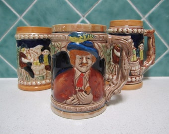 3 Vintage Beer Steins - Instant Collection - 1970's