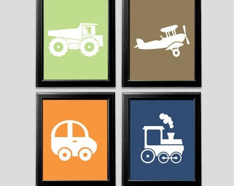 Transportation baby boy nursery art print -UNFRAMED- baby boy wall art, navy, green, orange, brown, car, aviator, truck, train, blue