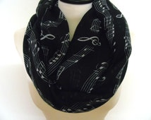 Music note infinity scarf, cowl scarf, fashionable scarves, loop scarf, music scarf, cute scarf, music note scarf, music infinity scarf