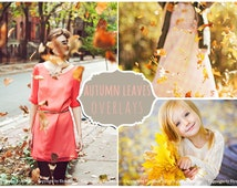 Leaves Photoshop Overlays PNG: Falling autumn tree leave effect, Natural Professional Photo Background Backdrops, Enhancement Tool